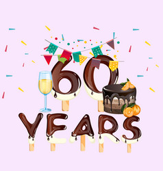 60 years happy birthday card vector image