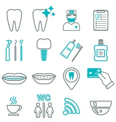 16 line of dental icons isolated color block vector