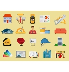 Architecture and construction flat icons set vector