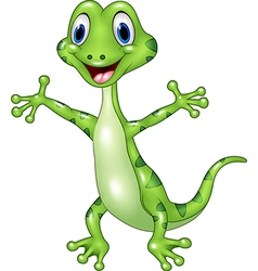 Cartoon funny green lizard posing isolated on whit vector
