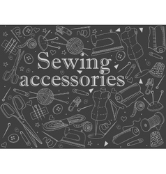 Sewing accessories chalk vector