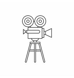 Retro cinema camera icon outline style vector