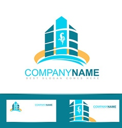 Blue real estate logo icon vector image