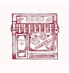 Bread house facade composition vector