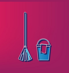 Broom and bucket sign blue 3d printed vector