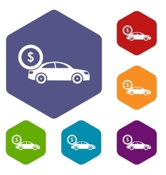 Car and dollar sign icons set vector