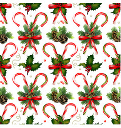 Christmas candies with coniferous decorations vector