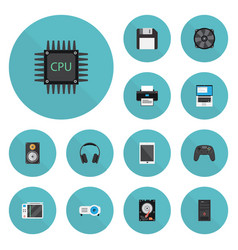 Flat icons printer controller system unit and vector