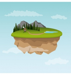 floating island with small house vector image