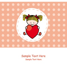 girl with a heart vector image vector image