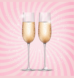 Glass of champagne on pink background vector