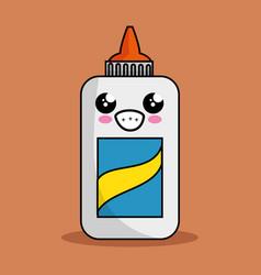 Glue bottle character kawaii vector