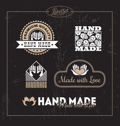 hand made label set vector image vector image