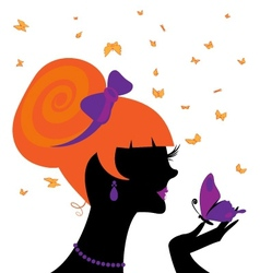 Head and butterfly vector