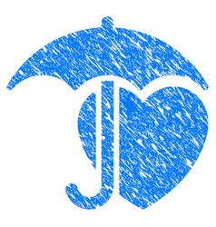 heart umbrella protection grunge icon vector image vector image