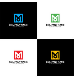 letter m in the square logo vector image vector image