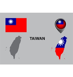 Map of Taiwan and symbol vector image
