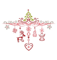 Merry Christmas decoration with reindeer vector image vector image