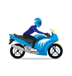 Motorcyclist on motorbike vector