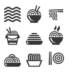 Noodle icons asian food bar logos set vector