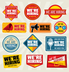 Now hiring employer promotion at work vector