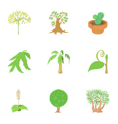 outdoor plants icons set cartoon style vector image vector image
