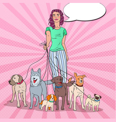 Pop art young woman walking with many dogs vector