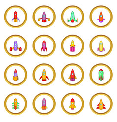 Rockets icons circle vector