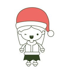 Santa claus woman cartoon full body face with wink vector