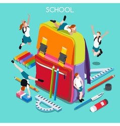 School Set 01 People Isometric vector image vector image