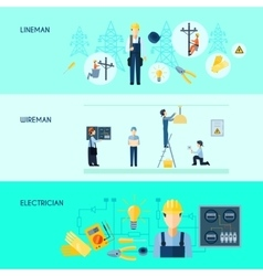 Set of three electricity banners vector