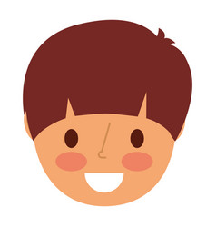 smiling face young boy cartoon vector image