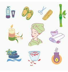 Spa doodle hand drawn sketch icons set with vector image
