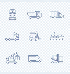transportation icons forklift cargo ship train vector image vector image
