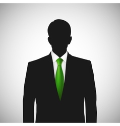 Unknown person silhouette whith green tie vector image