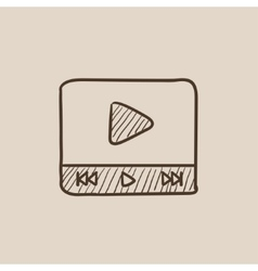 Video player sketch icon vector image