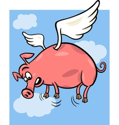 When pigs fly cartoon vector