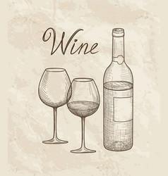 wine set wine glass bottle lettering vineyard vector image