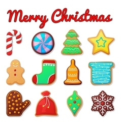 Traditional christmas gingerbread cookies vector