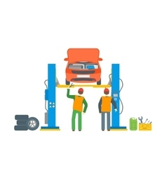Car repair service automobile lifted vector
