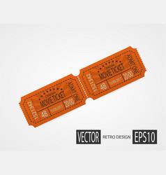 retro cinema tickets orange design vector image