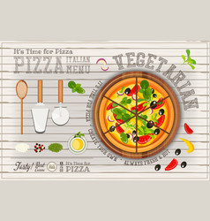 Pizza vegetarian vector