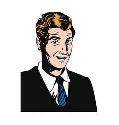 face man smiling expression pop art vector image