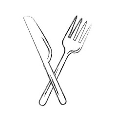Fork cutlery with knife vector