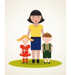 Happy mother with two children vector
