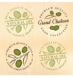 Natural olive oil labels vector