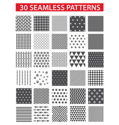 30 retro styled black seamless patterns vector image vector image