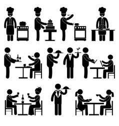 Restaurant employees black vector