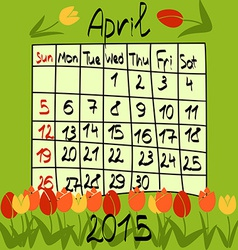 Calendar for April 2015 Cartoon Style Tulips on vector image