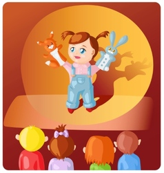 Girl with hand puppets vector